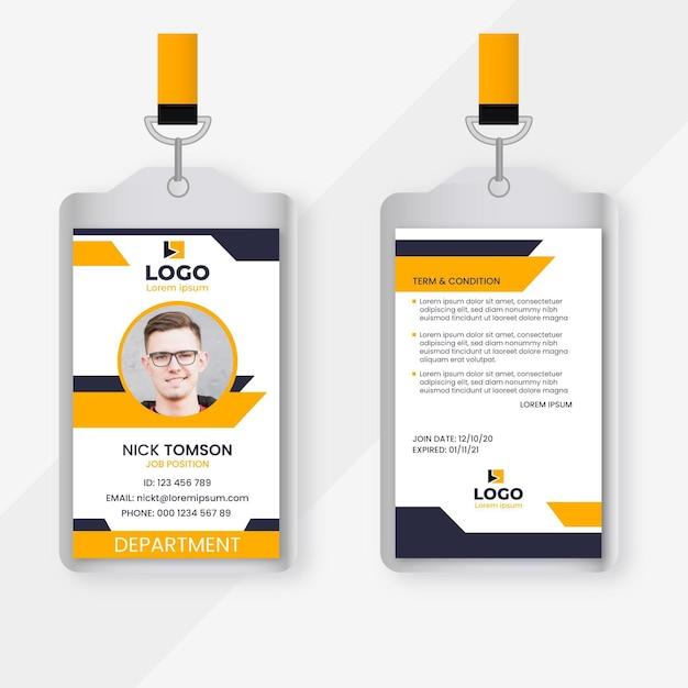 Cartes D'identité Abstraites Avec Photo Vecteur gratuit