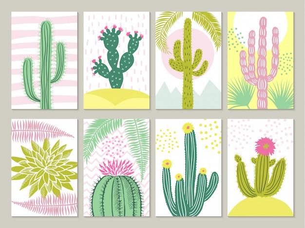 Cartes avec des images de cactus Vecteur Premium