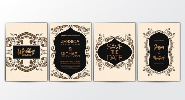 Cartes d'invitation avec concept luxueux Vecteur Premium