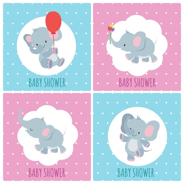 Cartes d'invitation de douche de bébé avec jeu d'éléphants de dessin animé mignon Vecteur Premium