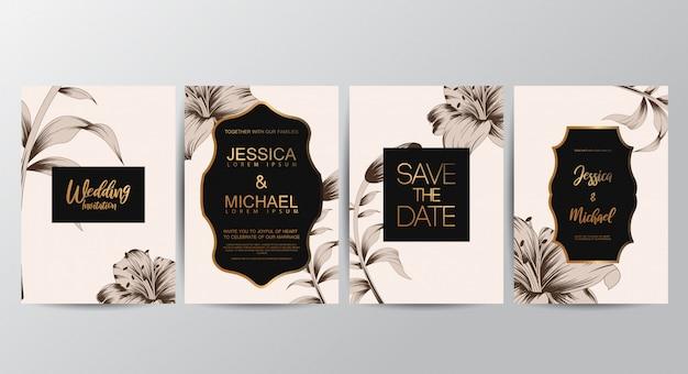 Cartes d'invitation floral Vecteur Premium