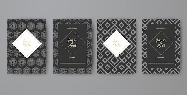 Cartes d'invitation géométriques de mariage d'art déco Vecteur Premium