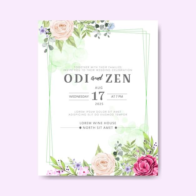 Cartes d'invitation de mariage avec belle floral Vecteur Premium
