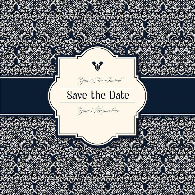 Cartes d'invitation de mariage décoratif Vecteur Premium
