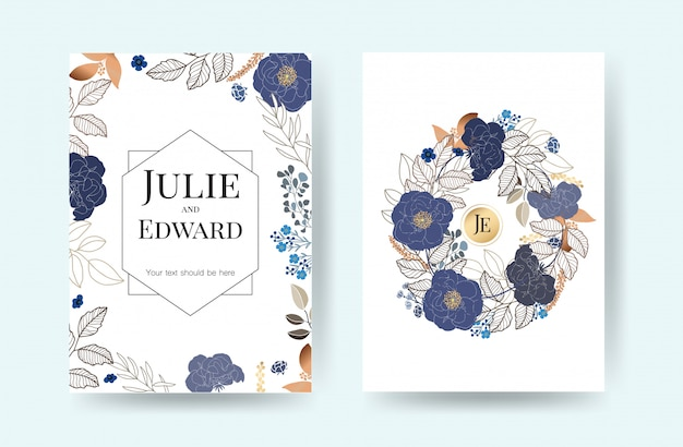 Cartes d'invitation de mariage floral vector Vecteur Premium