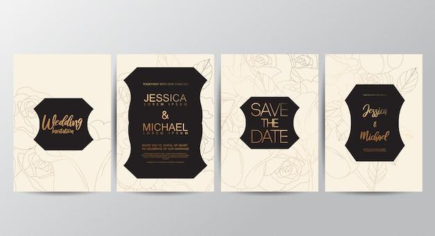 Cartes d'invitation de mariage haut de gamme Vecteur Premium