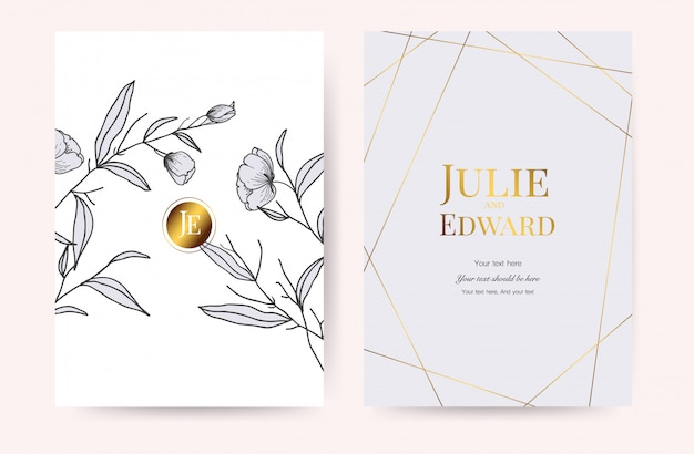 Cartes d'invitation de mariage de luxe vecteur Vecteur Premium