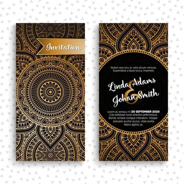 Cartes d'invitation de mariage vectoriel éléments décoratifs vintage avec mandala Vecteur gratuit