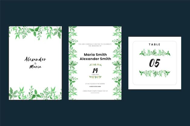 Cartes D'invitation De Mariage Vintage Avec Des Feuilles Vecteur gratuit
