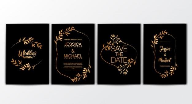 Cartes D'invitation De Mariage Vecteur Premium
