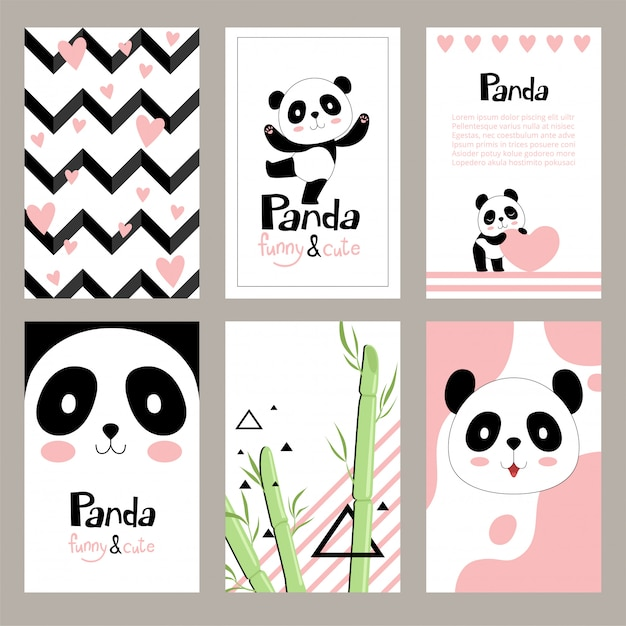 Cartes d'invitation pandas. modèles de pancarte de vacances ours chinois nouveau-nés mignons pour enfants Vecteur Premium
