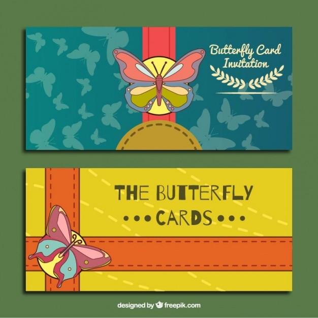 Cartes D'invitation Avec Des Papillons Mignons Vecteur gratuit