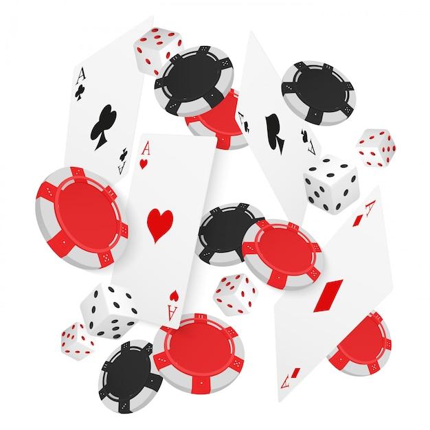Cartes et jetons de casino flottants Vecteur Premium