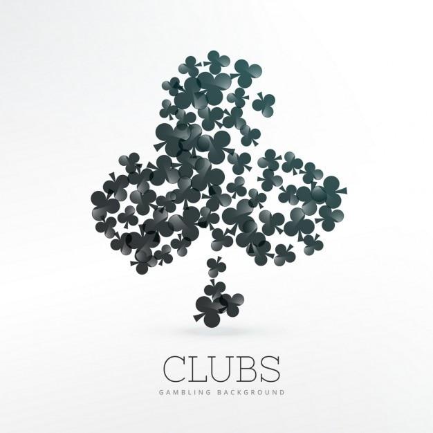 Cartes à jouer clubs formes de fond Vecteur gratuit