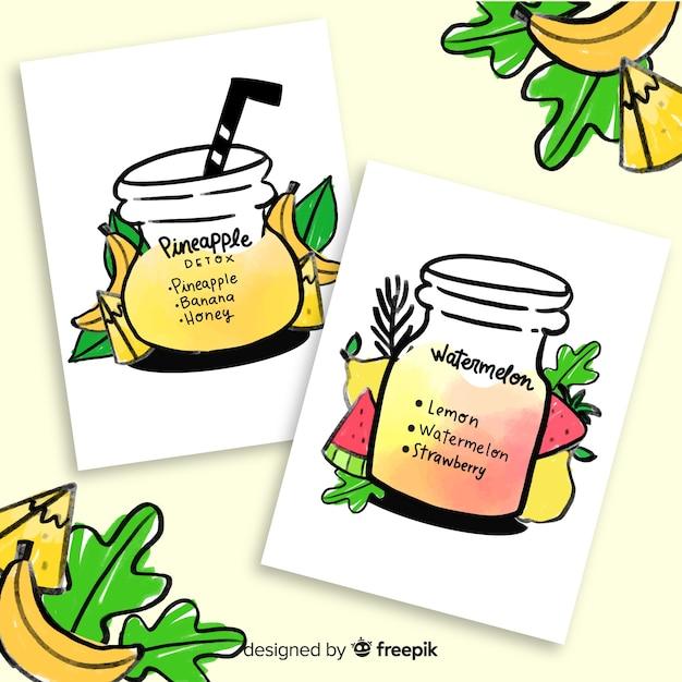 Cartes de jus de fruits aquarelle detox Vecteur gratuit
