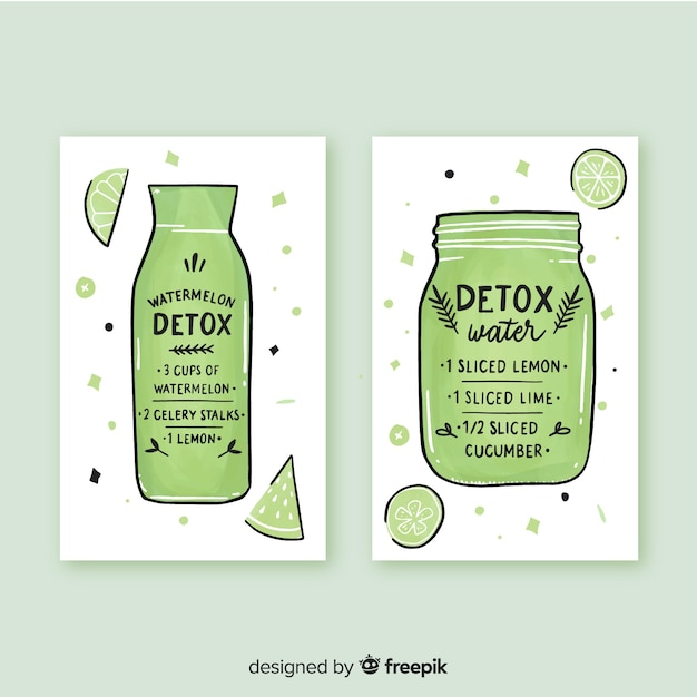 Cartes de jus de fruits aquarelle detox Vecteur gratuit