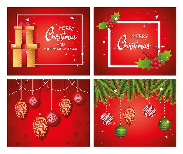 Cartes De Lettrage Joyeux Joyeux Noël Avec Conception D'illustration De Cadeaux Et De Boules Vecteur Premium