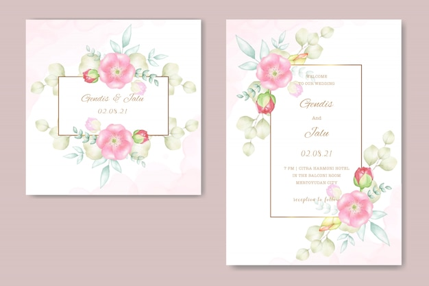 Cartes de mariage avec de belles fleurs à l'aquarelle Vecteur Premium