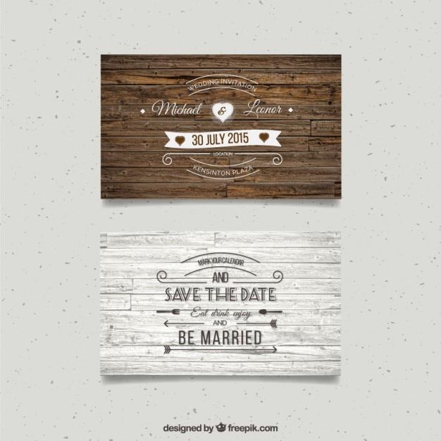 Cartes De Mariage En Bois Vecteur gratuit