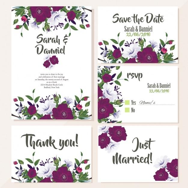 Cartes de mariage mignons avec des fleurs de violette Vecteur gratuit