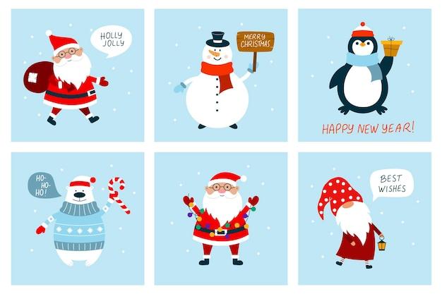 Cartes De Noël Avec Bonhomme De Neige, Gnome, Ours Polaire, Père Noël, Pingouin. Style De Dessin Animé Plat. Vecteur Premium