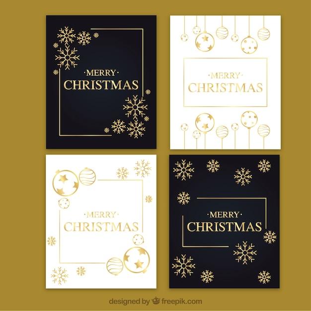 Cartes De Noël Noir Et Blanc Avec Des éléments Dorés