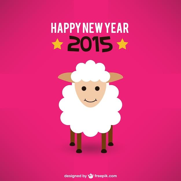 Cartes de nouvel an avec des moutons Vecteur gratuit