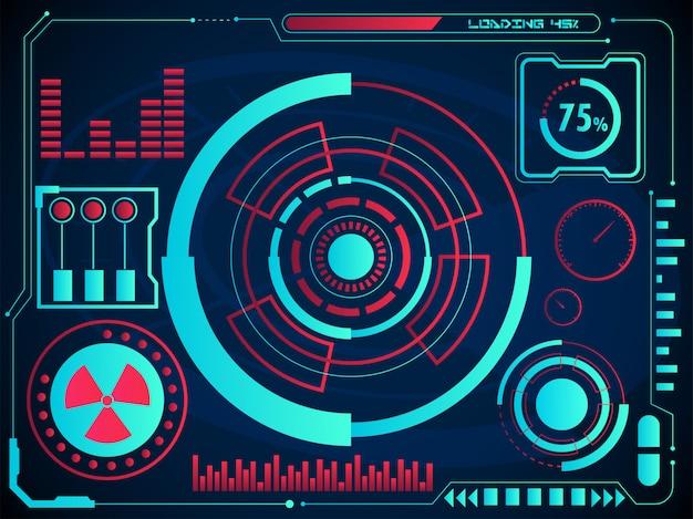 Cartes numériques ou interface utilisateur radar et écran d'hologramme graphique sur fond bleu pour le concept futuriste de hud infographic. Vecteur Premium