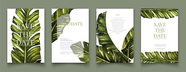 Cartes De Peinture Aquarelle Tropicales. Vecteur Premium