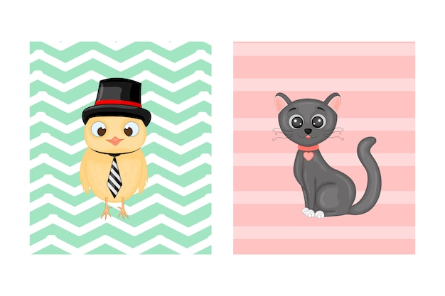 Cartes postales avec des animaux. illustration vectorielle avec hibou et chat. Vecteur Premium