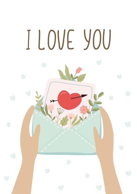 Cartes Postales Romantiques Cadeaux Avec Lettre D'amour. Saint Valentin Mignon. Vecteur Premium