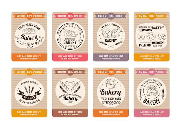 Cartes de prix avec différents types de pain. étiquettes pour boulangerie. Vecteur Premium