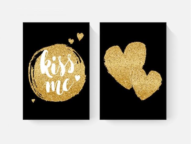 Cartes de saint valentin avec lettring à la main et détails de paillettes d'or Vecteur Premium