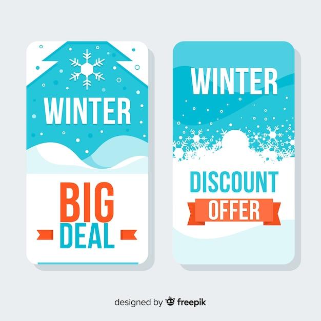 Cartes de soldes d'hiver Vecteur gratuit