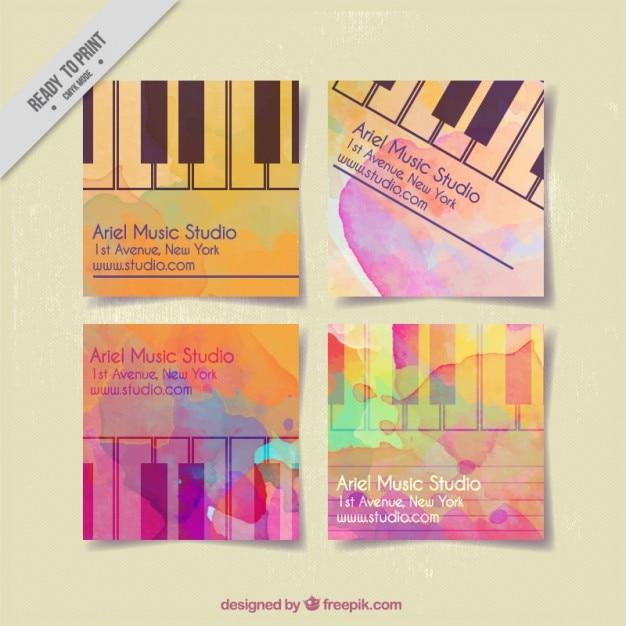 Cartes studio de musique peints à l'aquarelle Vecteur gratuit
