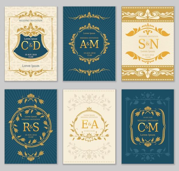 Cartes vectorielles de luxe invitation de mariage vintage avec monogrammes de logo et cadre fleuri Vecteur Premium