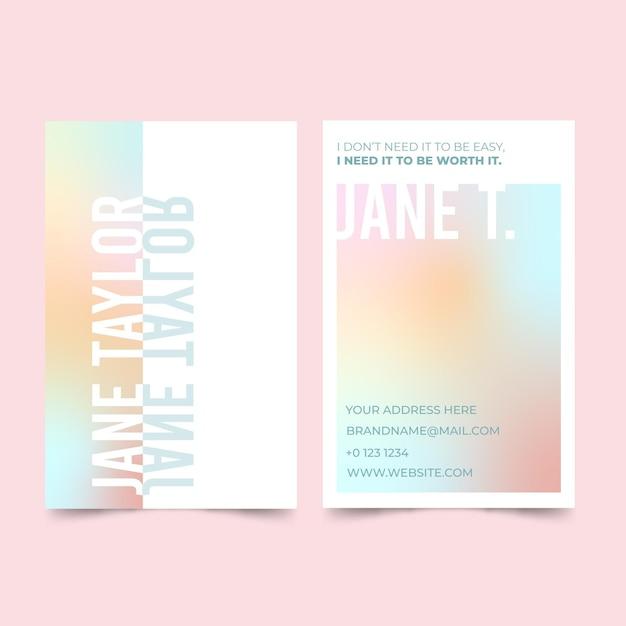 Cartes De Visite Dégradé Pastel Vecteur gratuit
