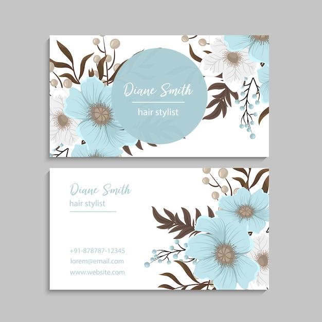 Cartes De Visite Fleur Bleu Clair Vecteur Premium