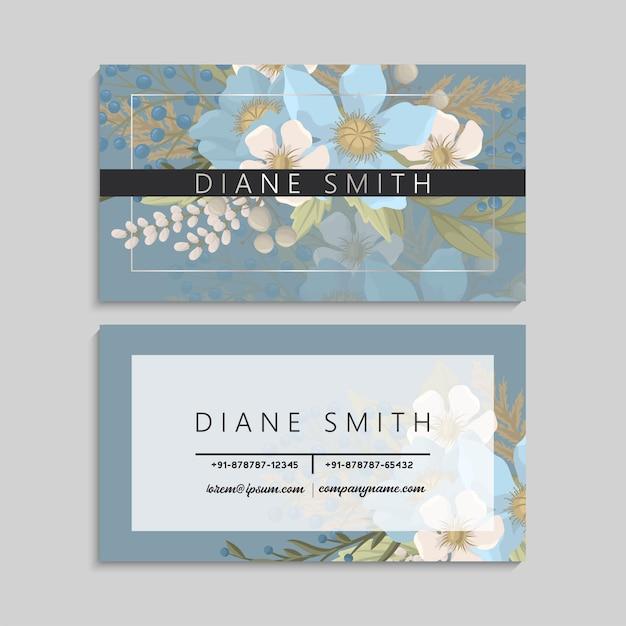 Cartes De Visite Fleur Bleu Clair Vecteur gratuit
