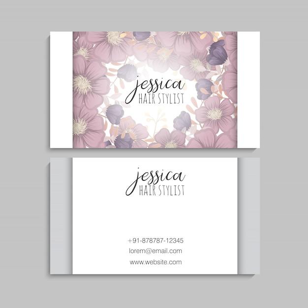 Cartes De Visite Fleur Fleurs Violettes Vecteur gratuit