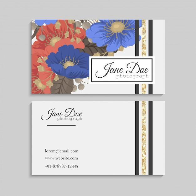 Cartes De Visite Fleur Fond Bleu Et Rouge Vecteur gratuit