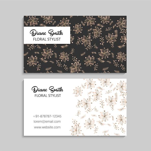 Cartes De Visite Fleur Or Et Noir Vecteur gratuit