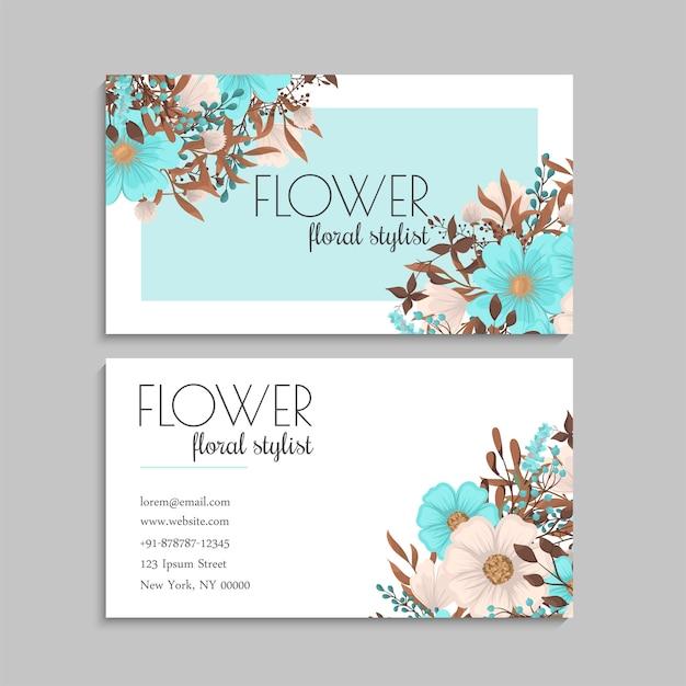 Cartes De Visite Fleur Vert Menthe Vecteur gratuit