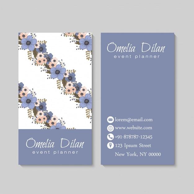 Cartes de visite de fleurs bleu clair Vecteur gratuit