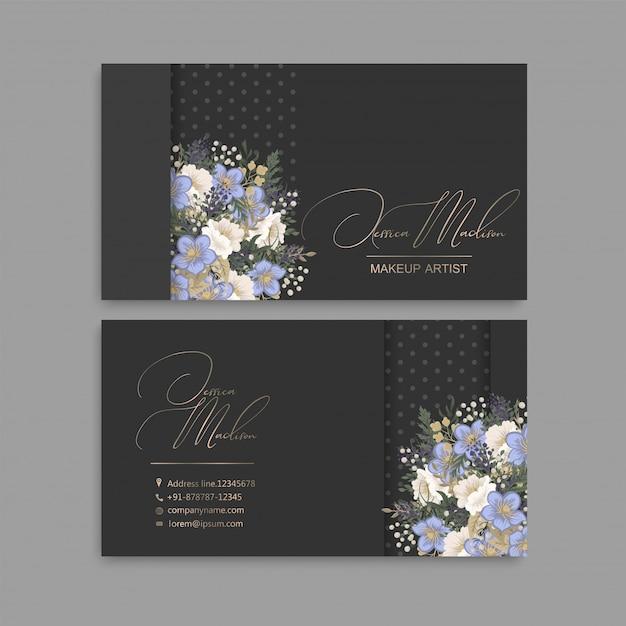 Cartes De Visite De Fleurs Fleurs Bleues Vecteur gratuit