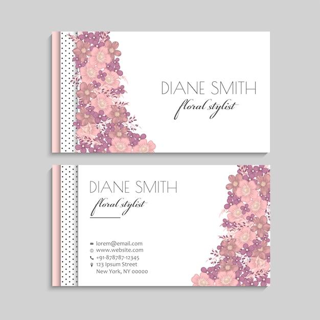 Cartes de visite fleurs fleurs pastel Vecteur gratuit