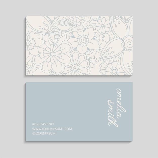 Cartes De Visite De Fleurs Fleurs Pastel Vecteur gratuit