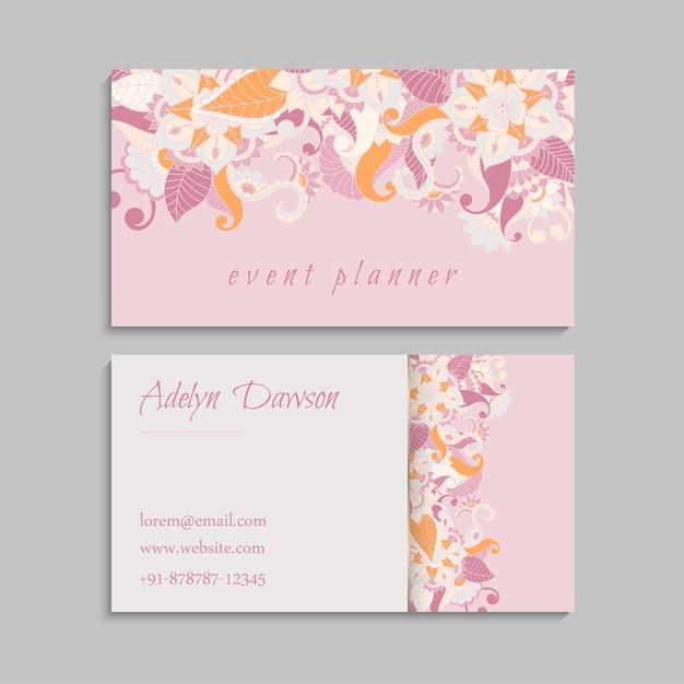 Cartes De Visite De Fleurs Fleurs Roses Vecteur gratuit