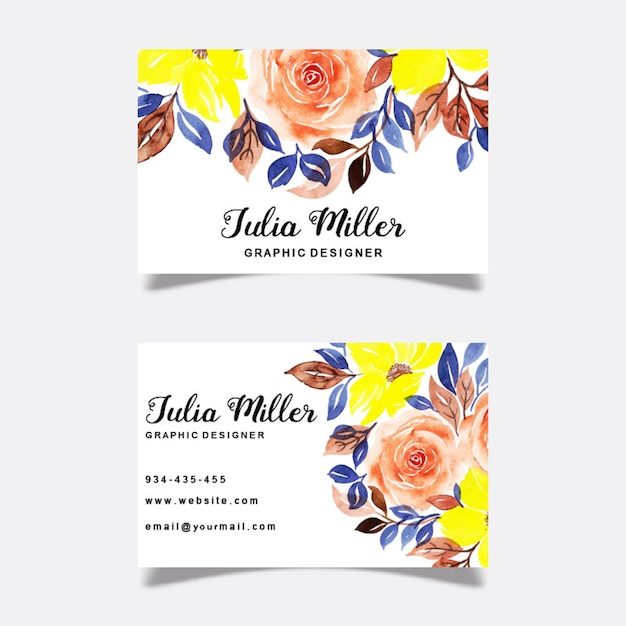 Cartes de visite florales aquarelles Vecteur Premium