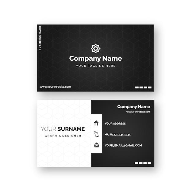 Cartes De Visite Monochromes Vecteur Premium